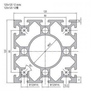 STRUT PROFILE - PG40 - 120mm x 120mm - 12 SLOTS (1.11.40.120120.12)