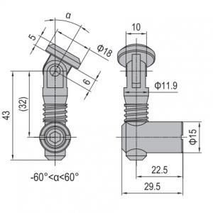 ANCHOR CONNECTOR PG45 OBLIQUE (MODEL P) (3.11.45.04)