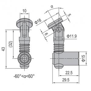 ANCHOR CONNECTOR PG45 OBLIQUE (MODEL C) (3.11.45.05)