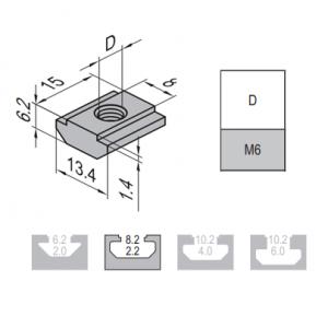 PRE-SET NUT-8-M6 NICKEL PLATED STEEL (2.11.08.M6)