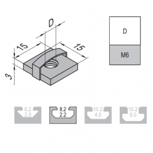 SQUARE NUT-8-M6 (2.12.08.M6)