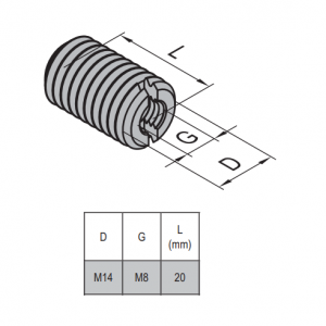 HOLE REDUCER BOLT M14/M8 NICKEL PLATED STEEL (2.51.14.08)