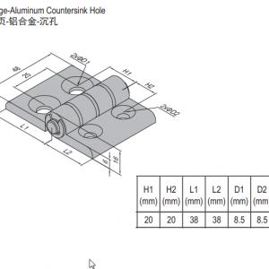 HINGE w COUNTERSINK HOLE & SET PG40 (7.22.40.40.ST)