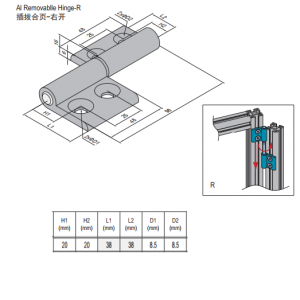 REMOVABLE HINGE & SET 40/40 RIGHT (7.27.40.40.ST)