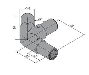 45 Degree L Tube Connector Right (SPS.JC40.A45L.R)