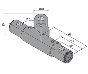 45 Degree Y Tube Connector Right (SPS.JC40.A45Y.R)