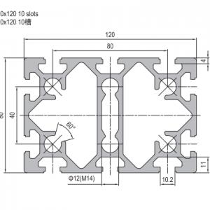 STRUT PROFILE PG40 (80mm x120mm; 10 slots)