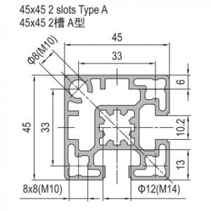 STRUT PROFILE PG45 45x45 2 SLOTS TYPE A