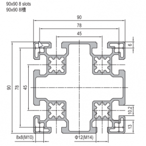 STRUT PROFILE PG45 90X90 8 SLOTS (1.11.45.090090.08)