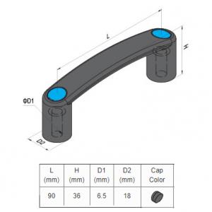 PA HANDLE FOR SLOT 8, BLACK HANDLE AND BLACK CAP (7.11.90.08.BK) PG30