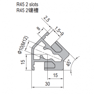 Clamping Profile PG30 R45 2 Clamping slots (1.21.30.030030.R45)