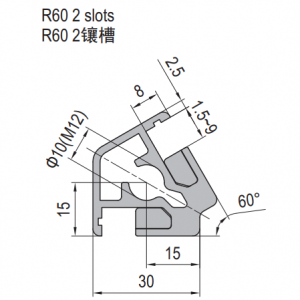 Clamping Profile PG30 R60 2 Clamping slots (1.21.30.030030.R60)
