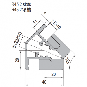 Clamping Profile PG40 R45 2 Clamping slots (1.21.40.040040.R45)