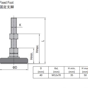 FIXED FOOT-STEEL BASE 40  M12X70 (5.23.40.12.70)