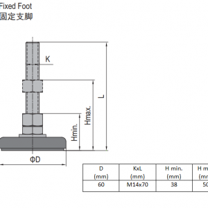 FIXED FOOT-STEEL BASE 60  M14X70 (5.23.60.14.70)