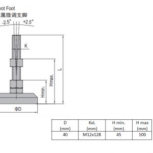 PIVOT FOOT-ZINC PLATED STEEL  40  M12X128 (5.24.40.12.130)