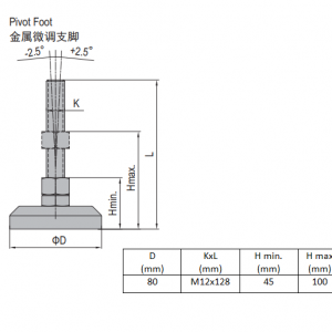 PIVOT FOOT-ZINC PLATED STEEL  80  M12X128 (5.24.80.12.130)