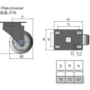 CASTOR PLATE-UNIVERSAL 75 (5.41.75U)