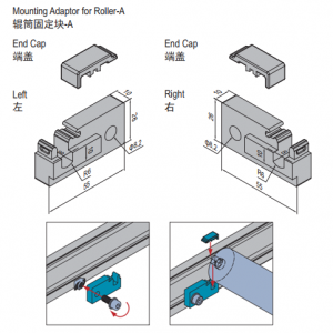 MOUNTING ADAPTOR FOR ROLLER-A-LEFT+RIGHT (PC) (8.51.01A)