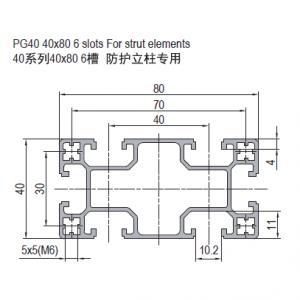 PG40 40x80 6 SLOTS FOR STRUT ELEMENT (1.42.40.040080.06.SE)