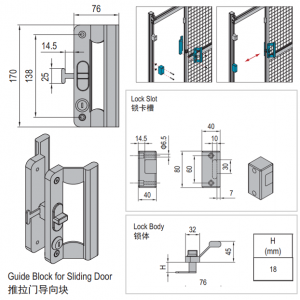 LOCK FOR SLIDING DOOR OF CLAMPING PROFILE-PG30 (PPDS40.LK)