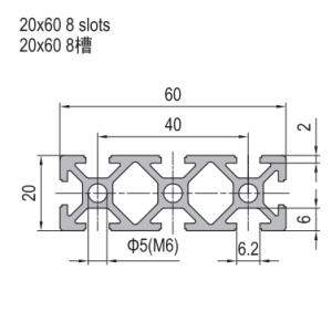 STRUT PROFILE PG20 20X60 8 SLOTS (1.11.20.020060.08)