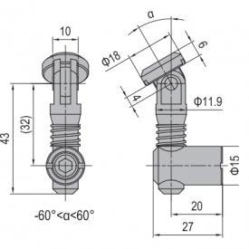 ANCHOR CONNECTOR PG40 OBLIQUE (MODEL C) (3.11.40.05)
