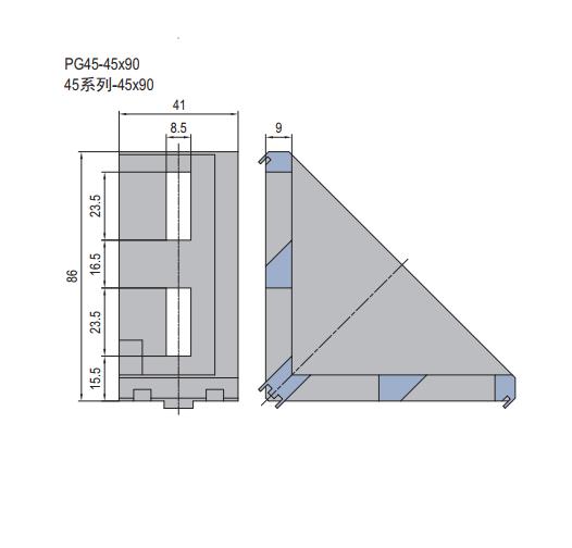 DIE CAST BRACKET PG45-45X90 (3.21.45.4590)