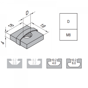 SQUARE NUT-10-M8 (2.12.10.M8)