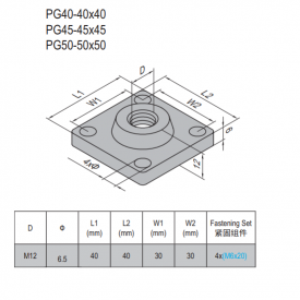 MOUNTING PLATE-PG40-4040 (5.31.40.4040)