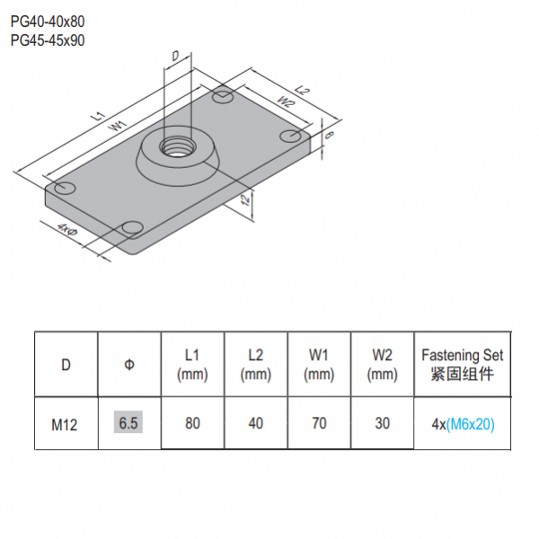 MOUNTING PLATE-PG40-4080.M12 ALUMINUM (5.31.40.4080.M12)