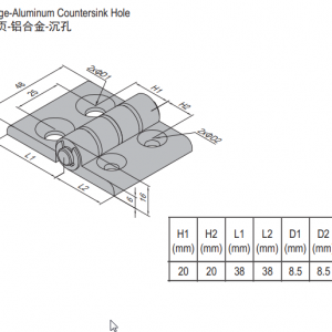 HINGE w COUNTERSINK HOLE & SET PG40 (7.22.40.40.ST)