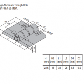HINGE w THROUGH HOLE & SET PG45 (7.23.30.45.ST)