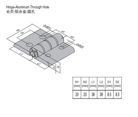 HINGE w THROUGH HOLE & SET PG40 (7.23.40.40.ST)