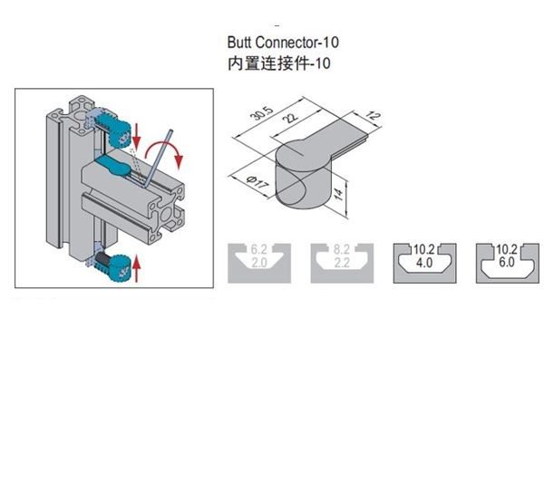 BUTT CONNECTOR 10-6 /w FASTENING SET (3.61.10.06.ST)