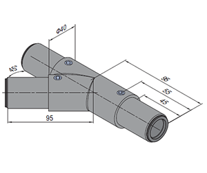 45 Degree Y Tube Connector Left (SPS.JC40.A45Y.L)
