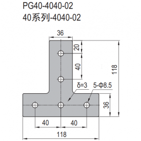 JOINING PLATE PG40-4040-02 (T-SHAPE) (SET X) (3.53.40.4040.02.STX)