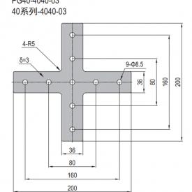 JOINING PLATE PG40-4040-03 (PLUS-SHAPE) (SET X) (3.53.40.4040.03.STX)