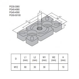 MOUNTING PLATE PG30-30x60 steel (5.32.30.3060)