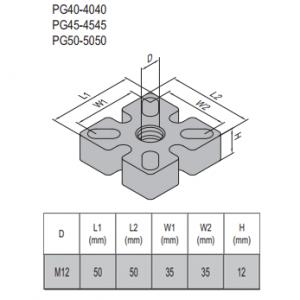 MOUNTING PLATE PG50-50x50 steel (5.32.50.5050)