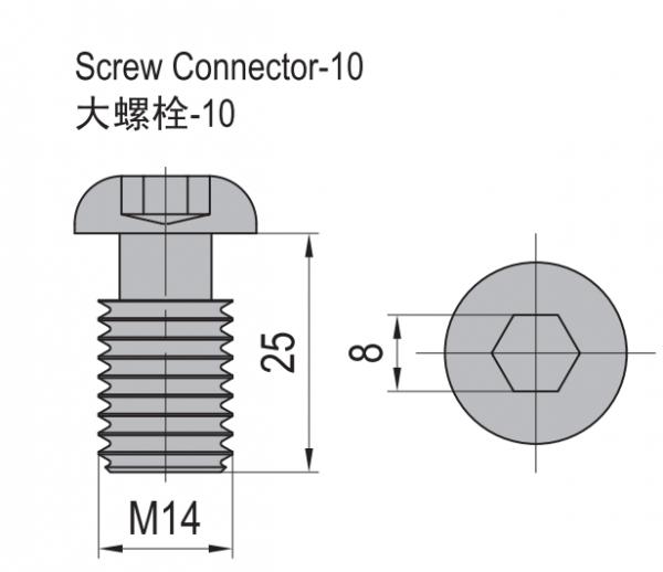 SCREW CONNECTOR-10 NICKEL PLATED STEEL (3.81.10)