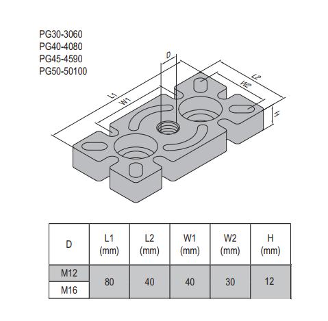 MOUNTING PLATE-PG40-4080 (5.32.40.4080.M12) STEEL