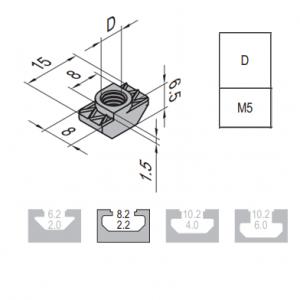 T NUT-8-M5 NICKEL PLATED STEEL (2.21.08.M5)