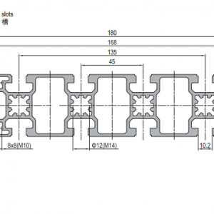 Strut Profile PG45 45x180 10 slots