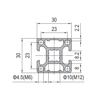 Strut Profile PG30 30x30 2 slots Type B (1.11.30.030030.02B)
