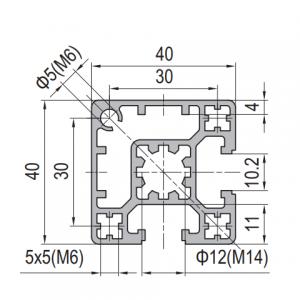 Strut Profile PG40 40x40 2 slots Type A (1.11.40.040040.02A)