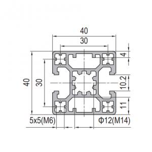 Strut Profile PG40 40x40 2 slots Type B (1.11.40.040040.02B)