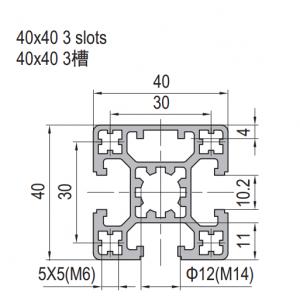 Strut Profile PG40 40x40 3 slots (1.11.40.040040.03)