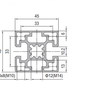 Strut Profile PG45 45x45 2 slots Type B (1.11.45.045045.02B)