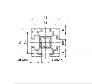 Strut Profile PG45 45x45 3 slots (1.11.45.045045.03)